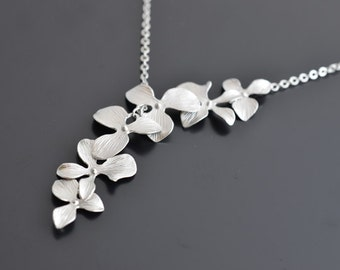 Beautiful lariat orchid silver necklace, Wedding necklace, Bridesmaid gift, Flower, Anniversary, Mother's Day Gift, tmj004360