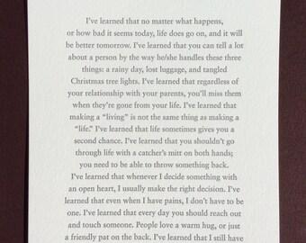 """Maya Angelou - """"I've Learned"""" Letterpress Card"""