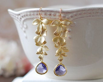 Purple and Gold Earrings Amethyst Purple Glass Matte Gold Orchid Flower Earrings Bridal Earrings Purple Wedding Jewelry February Birthstone