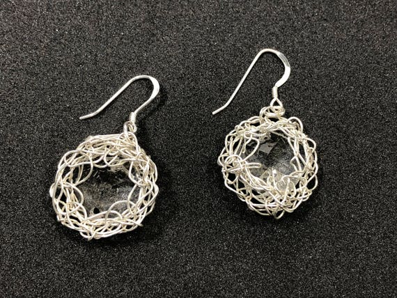 SJC10212 - Handmade unique Drop Earrings - small sterling silver wire crochet bezel with recycled clear chandelier crystal prism