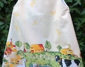 "Printed 6 ""countryside"" line pinafore dress"