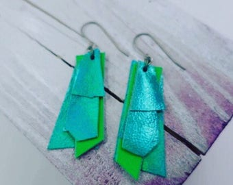 Green Abstract Tropical Fish Earrings