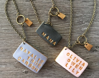 Simple Mama or Grandma Necklace with Children Names - Family - Name Tag - Mothers Day personalized - Mother's Day Gifts - Under 50