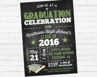 Graduation Party Invitation | Graduation Invitation | Graduation Chalkboard Invitation | Class of 2016 Invitation | Digital Invitation
