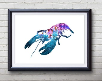 Purple Lobster Ocean Animal Print - Home Living - Lobster Painting - Lobster Wall Art - Wall Decor - Home Decor, House Warming Gifts