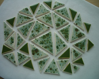 L38 - 38-pc CRYSTAL Glazed TRIANGLES - Ceramic Mosaic Tile Set