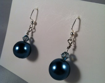 Teal - Pearl earrings - Beaded Jewelry - Affordable Jewelry - Gift for Her - Dangle Earrings -  Handcrafted - Handmade - Gift under 15