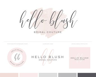 Watercolor Logo Design Photography Logos Branding Kit with Blush Pink Logo and Watermark - Premade Logos Branding Package