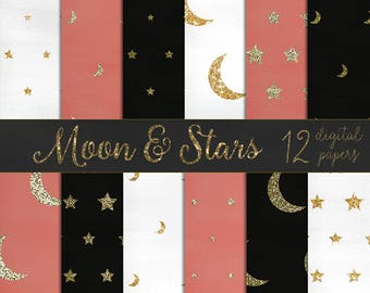Moon and stars scrapbook papers, moon digital paper stars digital papers, glitter stars, glitter moons, gold glitter papers DIGITAL DOWNLOAD