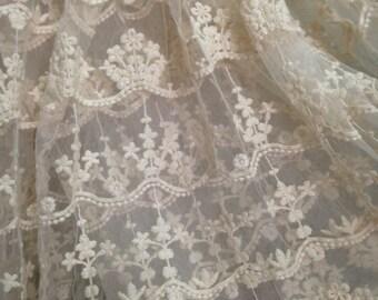 ivory embroidered gauze lace fabric, retro floral lace fabric, scalloped trim lace fabric, vintage style lace