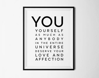 Love yourself, Inspirational print, Inspirational Quotes, Life quote print, Buddah art, Believe in yourself, Buddah quote, Inspirational