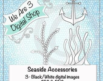 We Are 3 Digital Shop, Seaside Accessories, Anchor, Seaweed, Digital Stamp