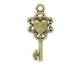 8 Small HEART KEYS Bronze Tone Key To My Heart Charms Valentine Surprises Tokens Love Key Jewelry Findings 12x26 mm