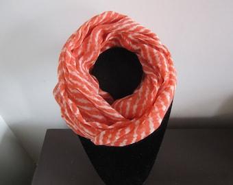Voile scarf/tube orange/white striped 100% wool