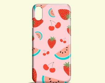 Fruit Salad phone case, pink iPhone X, iPhone 8, iPhone 8 Plus, summer iPhone 7, iPhone 6/6S, iPhone 5, 5S, SE, Samsung S7, S6, S6 Edge, S5