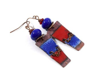 Handmade Red and Blue Earrings, Enameled Earrings, Red and Blue Earrings, Copper Earrings, Artisan Earrings, Boho Earrings, OOAK, AE182