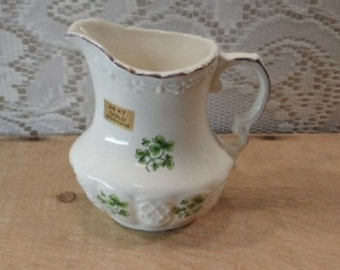 Carrigcraft Shamrock creamer / small pitcher / 24kt gold trim