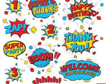 Superhero Text Digital Clipart, Comic Text Clipart, Superheroes Pop Art Text and Bubbles Clipart
