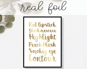 Makeup Words Print // Real Gold Foil // Minimal // Gold Foil Art Poster // Home Decor // Modern Office Print // Typography // Fashion
