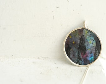 Ready to Ship, Mini Painting Jewelry, Black Circle Pendant, Star Celestial Necklace