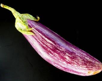 330 x   Eggplant Purple white long seeds ,  Organic Non-GMO Fresh Seeds From Europe