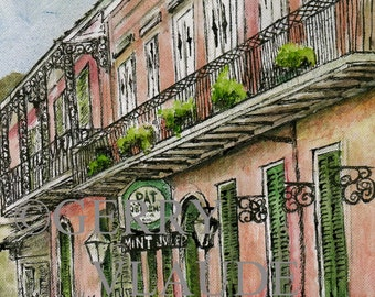 New Orleans Art Colorful Print of Pat O'Briens from Original Watercolor and Ink by Gerry Claude