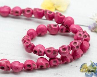 Pink Skull  Beads,  Sugar Skulls, 12x10mm, Skull Head,  Howlite Beads  -B201