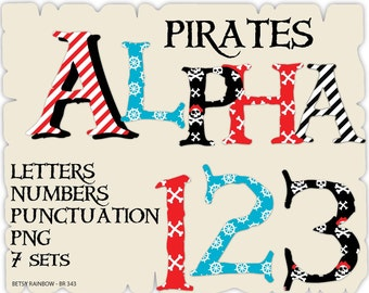 Pirates letters and numbers, clipart, clip art, letter clipart, alpha, pirates, skull - BR 343