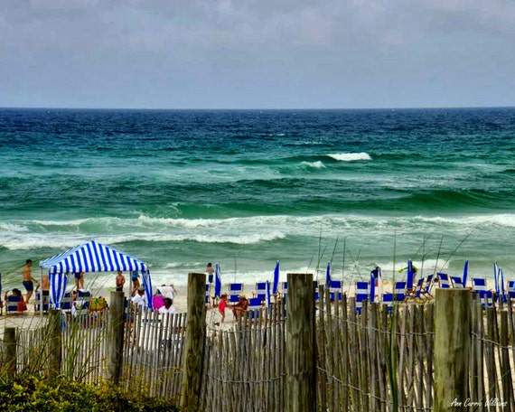 Families on the beach  in Seaside, Florida (canvas)