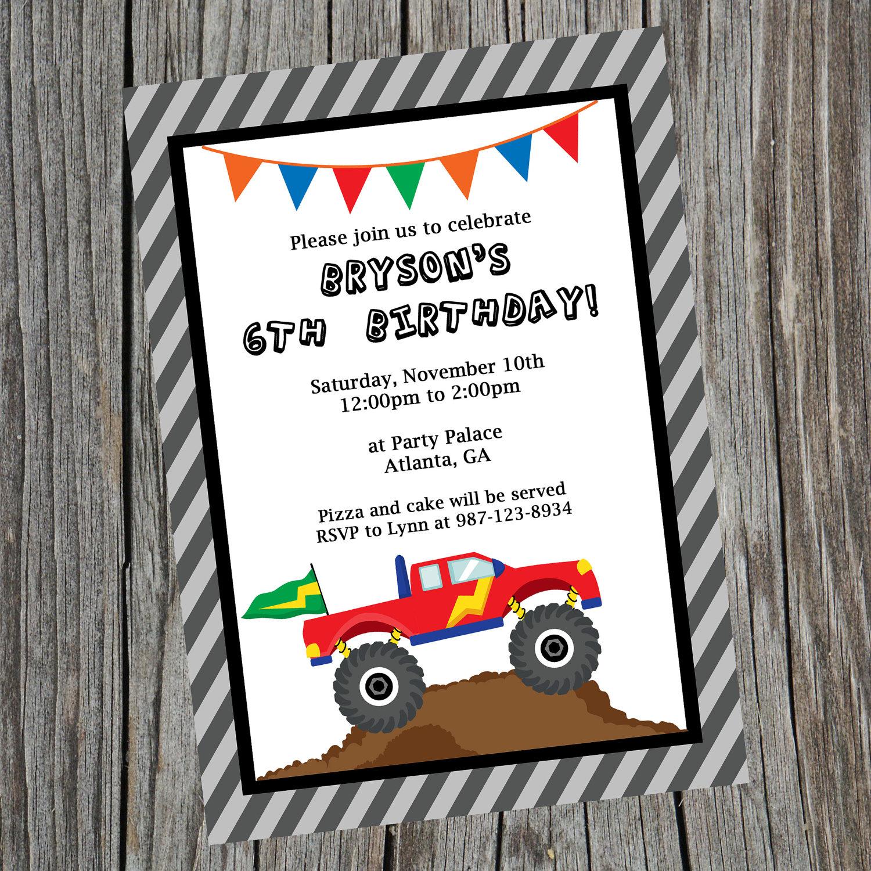 Similiar Truck Birthday Invitation Template Keywords