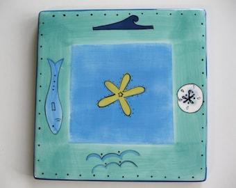Hand Painted Tile ,  Hand Painted Blue Green Ocean Tile Trivet,  Seaside Collection Stonemite Tile