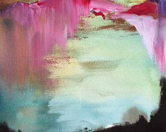 Watercolor Painting - Landscape Painting Print - For Me - 11x14 Giclee Print - Abstract Landscape - Gallery Wall - Mint - Pink