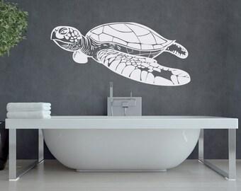 Turtle Wall Decal Sea Animals Decor- Nautical Wall Decal Ocean Decor- Sea Turtle Wall Decal Nautical Marine Ocean Bathroom Bedroom Decor #59