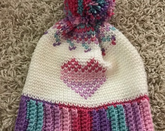 Floating Hearts Crochet Hat,  Fair Isle Hat, Crochet Pompom hat, Crochet Hat, Pompom Hat, Spring Hat, Textured Crochet Hat, Toque, Cozy Hat