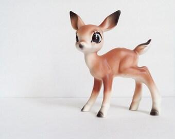 Ceramic Fawn Deer Figurine, Collectibles, Nursery Decor, Vintage Christmas Bambi Big Eye