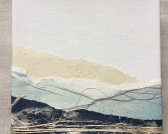 blue mountain watercolor landscape collage on 5in x 5in canvas