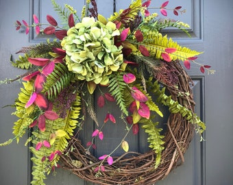 Hydrangea Wreath Spring Wreaths Spring Door Wreaths Fern Green Hydrangea Housewarming Fern Wreaths Green Purple Spring Decor Mothers Day