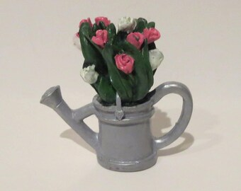 Miniature Pink and White Roses in a Watering Can 1:12 scale