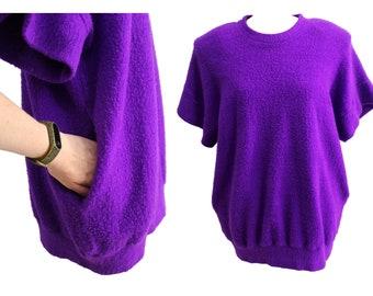 Vintage 80s sweater purple mock turtleneck sweater oversized sweater  | short sleeve vintage sweater