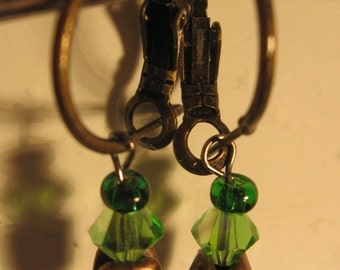 Green and Bronze Wire Earrings