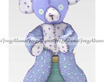 Teddy Bear, Lavender, Blue Floral, White & Green 12 x 18 Print