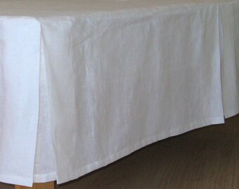 Tailored Linen Bedskirt Dust Ruffle White Oatmeal Beige Twin Full Double Queen King 100% European Flax Natural Organic Bed skirts