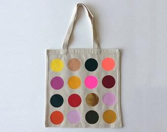 Modern Design Tote   Colourful Polka Dot Rainbow Hologram Shopping Bag Shoulder Bag   Appliqué Circle Print