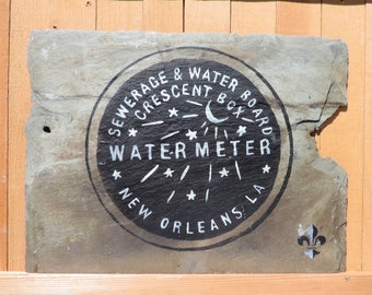 New Orleans Water Meter Handpainted on Recycled Roofing Slate