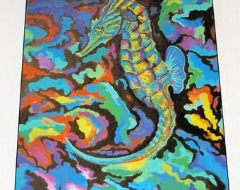 Seahorse in technicolour poster