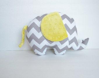 Grey Chevron and Yellow Minky Dot Stuffed Elephant Baby Toy Pillow, Nursery Pillow Decor, Photography Prop