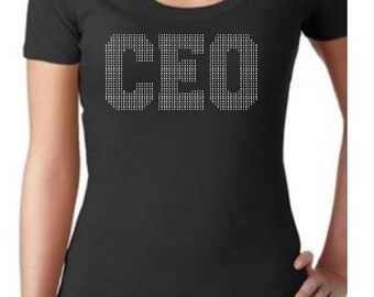 Bling CEO Custom Rhinestone Glam Shirt
