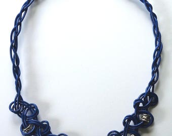 Denim Blue, Knotted Leather Necklace with Metal Tibetan-Style Beads