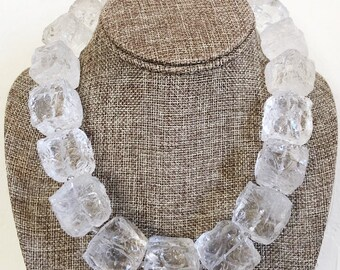 Natural AAA Rock Crystal Hammer Cut Ice Cube Statement Necklace - One of a Kind