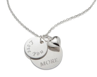 Love you More Necklace Pendant Personalized Valentines Gift Custom Jewelry, 925 Sterling Silver Jewelry N024
